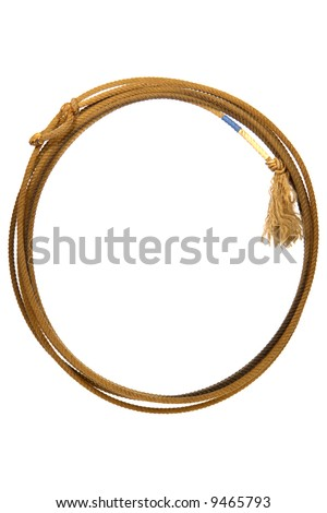 American West rodeo cowboy lasso lariat rope coiled in a round loop isolated on white