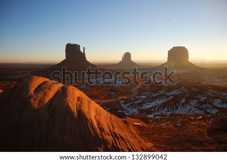 American West Winter Scene at Monument Valley - stock photo