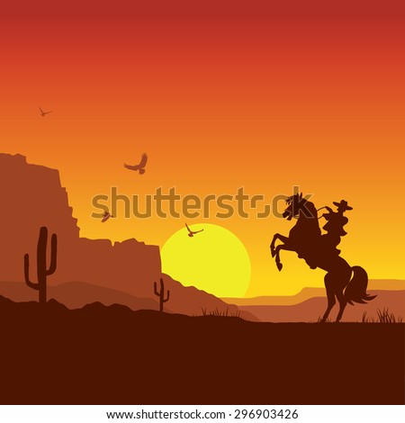 American wild west desert with cowboy on horse.Raster - stock photo