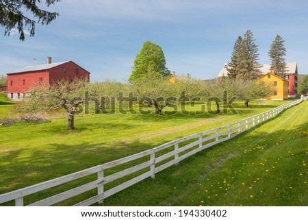 American wooden farms in the Berkshires, Massachusetts, USA - stock photo