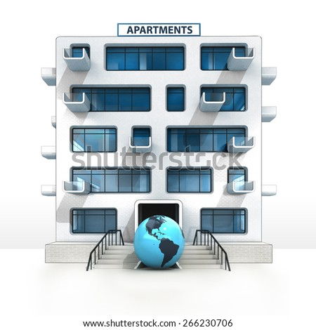 American world globe in front of isolated apartment building illustration