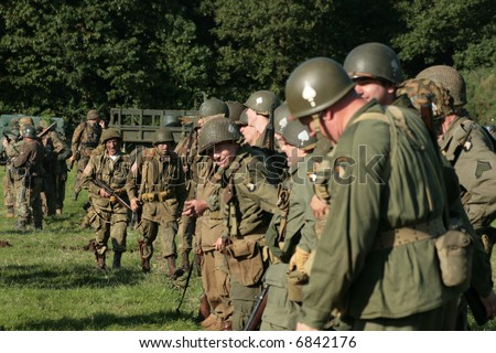 american world war 2 soldiers on parade dressed up in period uniform parade in Britain - stock photo