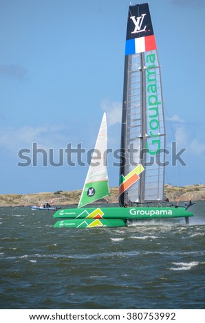 americas cup in sweden one catamaran with great speed - stock photo