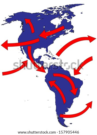 Americas Expansion Market Trade Routes Business Map - stock photo