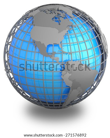 Americas on a grey geographic net enveloping Earth, isolated on white background. - stock photo