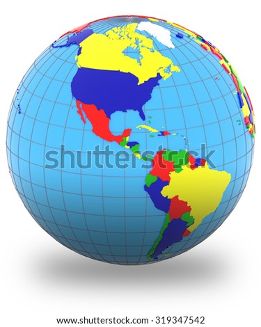 Americas, political map of the world with countries in four colors, isolated on white background. - stock photo