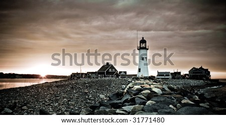 Americas 11th Oldest Lighthouse In Scituate Massachusetts, Built in 1812 - stock photo