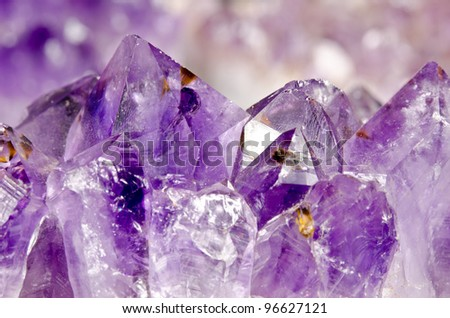 amethyst crystal macro - stock photo
