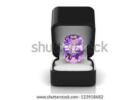 amethyst  in a gift box - stock photo