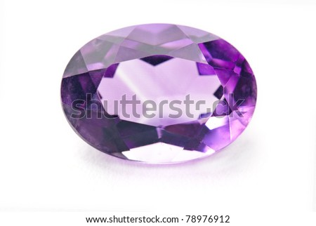 amethyst jewel, precious gemstone isolated against a white background