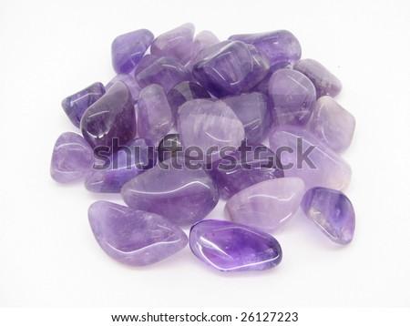 Amethyst tumblestones - stock photo