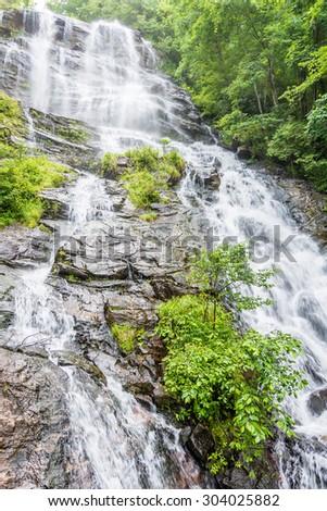 Amicalola Falls, in Georgia's State Park. - stock photo