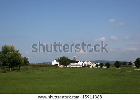 Amish farm - stock photo