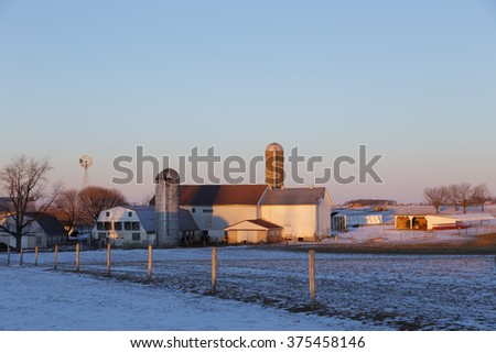 Amish farm on a winter morning