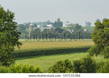 Amish Farms in the countryside on summer morning