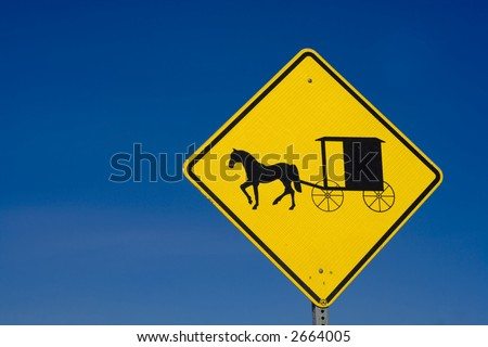 Amish Road Sign (Horizontal) - stock photo