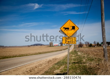 Amish warning sign in farm country - stock photo