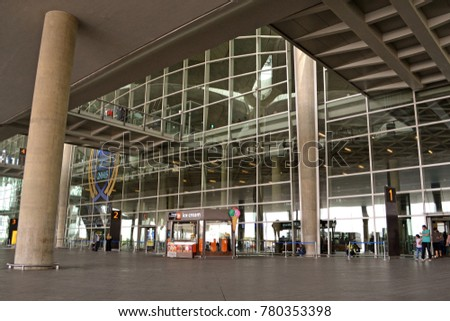 Amman, Jordan - April 8, 2016: Queen Alia International Airport entrance. QAIA is one of the best ranked airports in the Middle East.