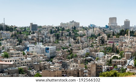 AMMAN, JORDAN - MAY 3, 2014: Panoramic view of Amman. Amman is is the capital and most populous city of the Kingdom of Jordan.