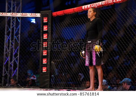 AMMAN, JORDAN - SEPTEMBER 8 : Angela Hayes stands before fight against Aisling Daly, Cage Warriors Fight Night 2, Fight Card on September 8, 2011 in Amman, Jordan - stock photo
