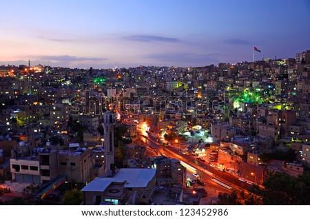 AMMAN - OCTOBER 11: Amman city on October 11, 2012 in Amman. Amman is the capital of Jordan and originally the city spread over seven hills. - stock photo