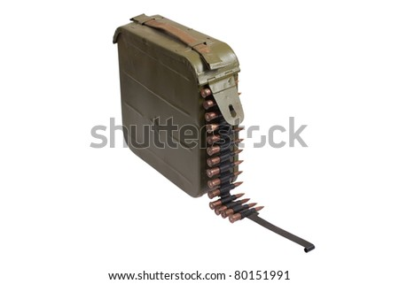 ammo bullet case with chain of ammo  on white background - stock photo