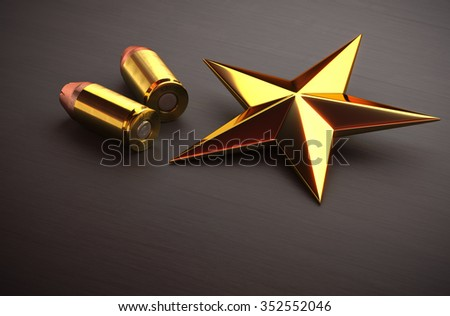 Ammunition and a gold star on the floor 3d rendering. - stock photo