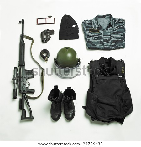 Ammunition and equipment of the Russian police and special forces - stock photo