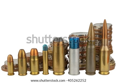 Ammunition and valid coins. Sales of weapons and ammunition. Illegal trade of ammunition. Advertising for the sale of ammunition. Valid Czech coins.  - stock photo