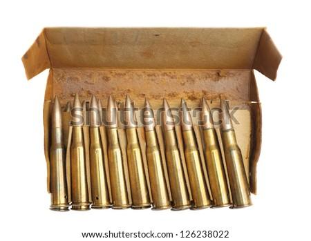 ammunition on a white background - stock photo
