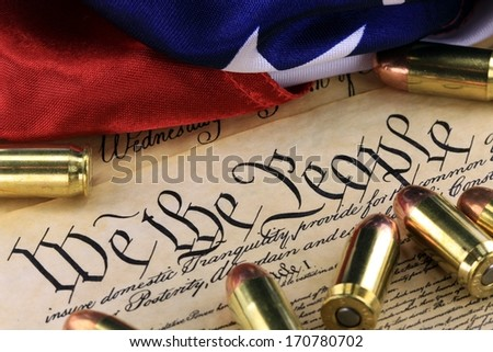 Ammunition on US Constitution - The Right to Bear Arms - stock photo