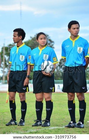 AMNAT CHAROEN THAILAND- AUGUST 23: Referee on soccer match in action during Regional League Division 2 between Sisaket utd and Amnat Poly utd at Amnat Charoen on August 23,2015,Thailand - stock photo