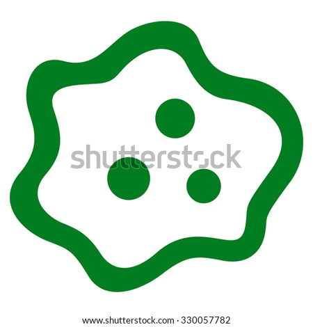 Amoeba illustration icon. Style is flat symbol, green color, rounded angles, white background.