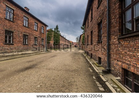 Among Auschwitz I Concentration camp, Poland - stock photo