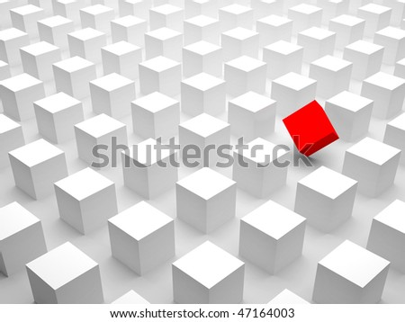 Among others. Abstract concept for a remarkable person; someone standing out from the crowd in a positive way. On white background. - stock photo