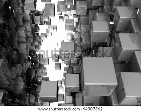 Among the crowd of reflective cubes, 3d render - stock photo