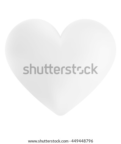 Amorous 3d heart shape with clouds texture background.  Romantic dimensional heart isolated on white background for love concept wedding business cards, valentines gift paper, book covers, dating app - stock photo
