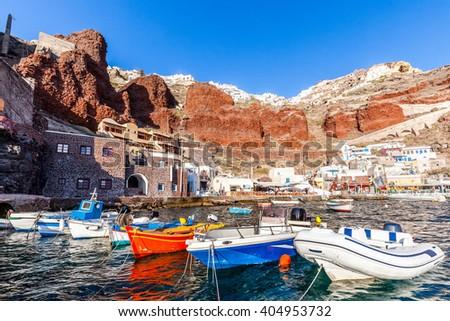 Amoudi port of Oia, Santorini island, Greece  - stock photo
