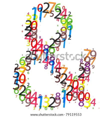 Ampersand sign made of colorful digits