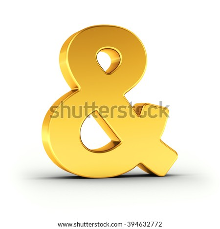 Ampersand sign symbol as a polished golden object over white background with clipping path for quick and accurate isolation.