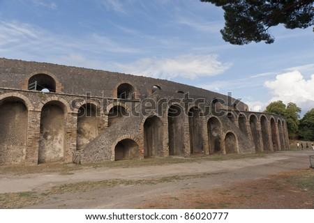 amphitheater, arena in pompeii, Italy - stock photo