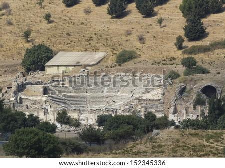 Amphitheater2 (Coliseum) in Ephesus (Efes) Turkey - stock photo
