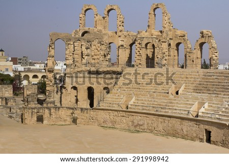 Amphitheater in El Jem, Tunisia - stock photo
