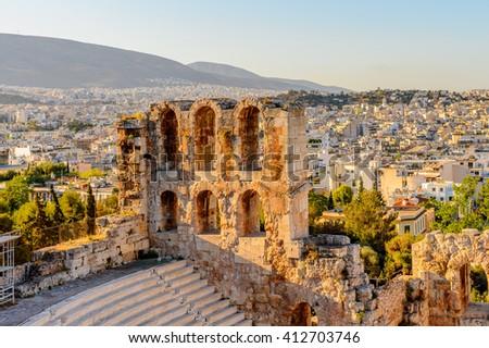 Amphitheater of the Acropolis of Athens. UNESCO World Hetiage site. - stock photo