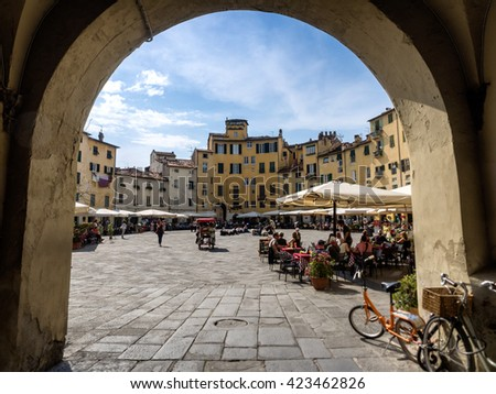 Amphitheater square in Lucca. Tuscany, Italy - stock photo
