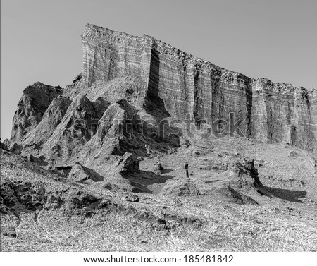 Amphitheatre is beautiful geological formation of Moon Valley in Atacama Desert, Chile (black and white) - stock photo