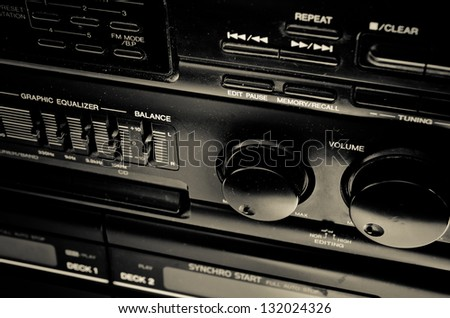 amplifier equipment with knobs and sliders