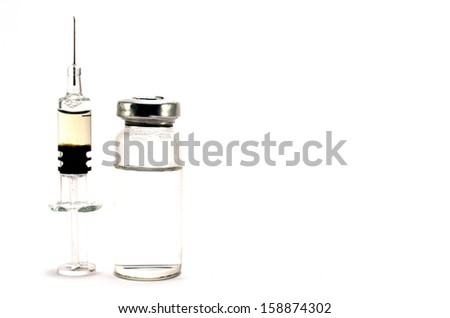 ampoule and syringe on a white background