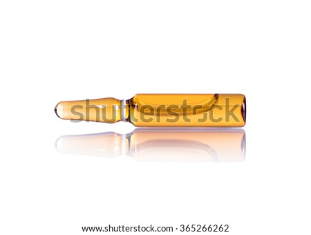 ampoule with a liquid for injection on the white background - stock photo