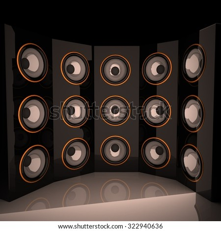 Amps in semicircle, 3d render, square image